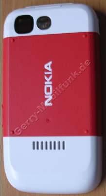 Akkufachdeckel  Original Nokia 5200 rot Batteriefachdeckel E-Cover incl. Kamerascheibe und Akkufachverschluß, Feder zur Befestigung des Deckels am Gerät