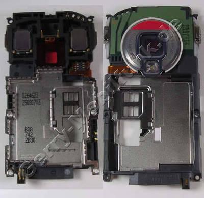 Gehäuserahmen Nokia N95-8GB original Cover, Rahmen vom Gehäuse incl. Simkartenhalter, Stereolautsprecher, Freisprechlautsprecher und Buzzer, Kamerascheibe, Blitzlichtmodul, Blitz-LED, interne Antennen, Ladekonnektor