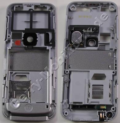 Unterschale silber original Nokia 6120 Classic C-Cover Gehäuserahmen incl. Simkartenhalten, IHF-Lautsprecher ( Freisprechlautsprecher, Buzzer) Mikrofon, Ladebuchse, Kameraglas, Kamerascheibe, Ein / Aus -Tastenmatte für weisse und pinke Geräte