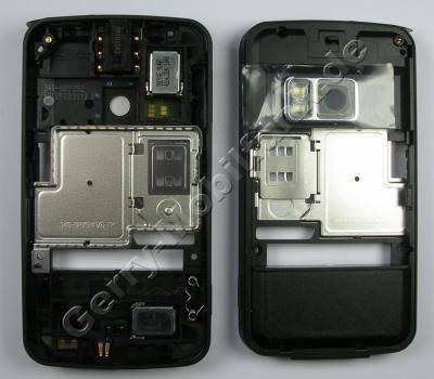 Unterschale schwarz Nokia N96 original black B-Cover Gehäuserahmen incl. Konnektoren, Freisprechlautsprecher, Tasten, Kamerascheibe ( Kameralinse ), Ladebuchse, Mikrofon, Abdeckung Speicherkartenschacht, Lautstärketaste, Kamerataste, Einschalttasten, Verriegelungstaste (Tastensperre), Headsetbuchse (Headsetkonnektor)