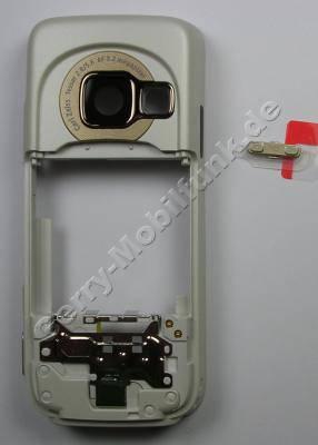 Unterschale weiß spezial Edition Nokia N73 B-Cover Gehäuserahmen incl. Seitentasten white, Simkartenhalter, Ladebuchse, Mikrofon, Kamerascheibe, Freisprechlautsprecher (Buzzer)