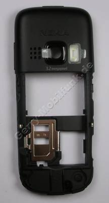Unterschale schwarz matt Nokia 6303 Classic original Backcover matt black, Gehäuseträger incl. Ladebuchse, Headsetbuchse, Simkartenhalter, Kamerascheibe, Lautstärketaste, Foto-LED, Einschalttaste Powerkey