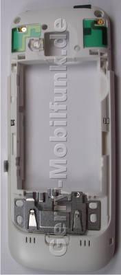 Gehäuserahmen,Gehäuseträger weiß Nokia C5 original B-Cover, Backcover mit Blitzlicht, Antennen, Headset Konnektor, Ladebuchse,  Halter für Simkarte