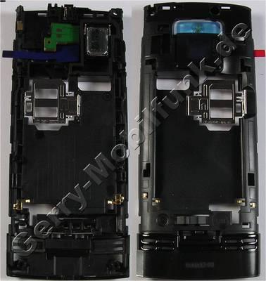 Unterschale schwarz Nokia X2-00 original B-Cover Gehäuseträger incl. Simkartenhalter, Freisprechlautsprecher, Ladebuchse, Kamerascheibe, Blitzlicht LED, Verriegelung vom Akkufachdeckel