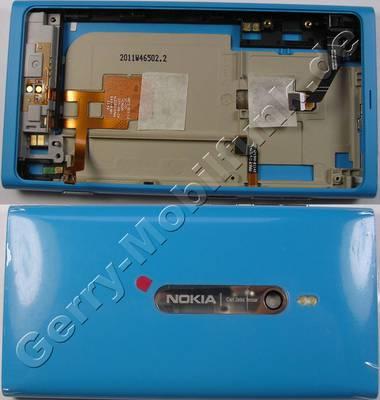 Unterschale cyan Nokia Lumia 800 original Rückenschale blau mit Kamerascheibe, Kameralinse, Seitentasten, Antenne, Blitzlicht LED, Headsetkonnektor, Freisprechlautsprecher, Seitenschalter für Kamera und Lautstärke