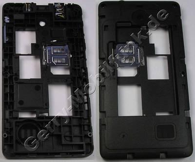Unterschale, Gehäuseträger Nokia Asha 210 SingleSim original D-Cover schwarz incl. Ladebuchse, Ladekonnektor, Headset Konnektor, Kopfhörerbuchse, Simkartenhalter, Bluetooth Antenne, Dichtung Freisprechlautsprecher