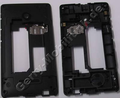 Gehäuseträger, Unterschale, Mittelcover schwarz Microsoft Lumia 532 original, D-Cover Gehäuseträger Singlesim-Version