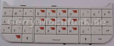Tastenmatte weiß Nokia 6760 slide original Tastatur Telefon, QWERTZ Tastatur mit Klebefolie auf der Rückseite
