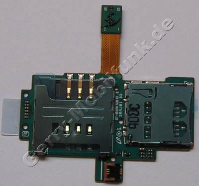 Kartenleser Speicherkarte und Simkarte Samsung i9000 Galaxy-S Speicherkartenleser, Simkartenleser mit Platine und Flex