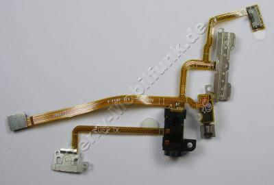 Flexkabel Headset Konnektor Apple iPhone 2G, Flachbandkabel mit Seitenschaltern, Vibrationsmotor, Headset-Anschluß, Ein Aus Schalter, Power Schalter