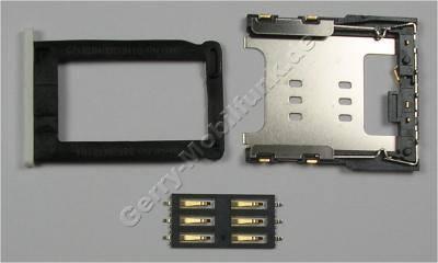 3er Set Simkartenhalter, Simkartenleser, Simkartenfach weiss Apple iPhone 3G Kartenfach white mit Blechahalterung und Kartenleser